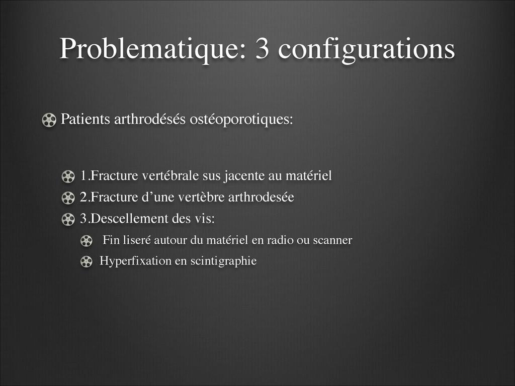 Problematique: 3 configurations Patients arthro...