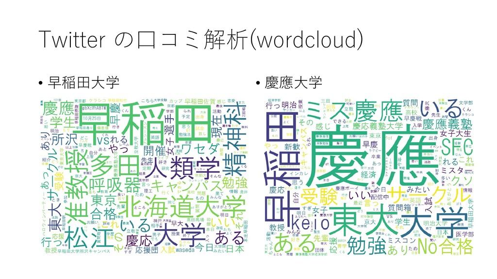 Twitter の口コミ解析(wordcloud) • 早稲田大学 • 慶應大学