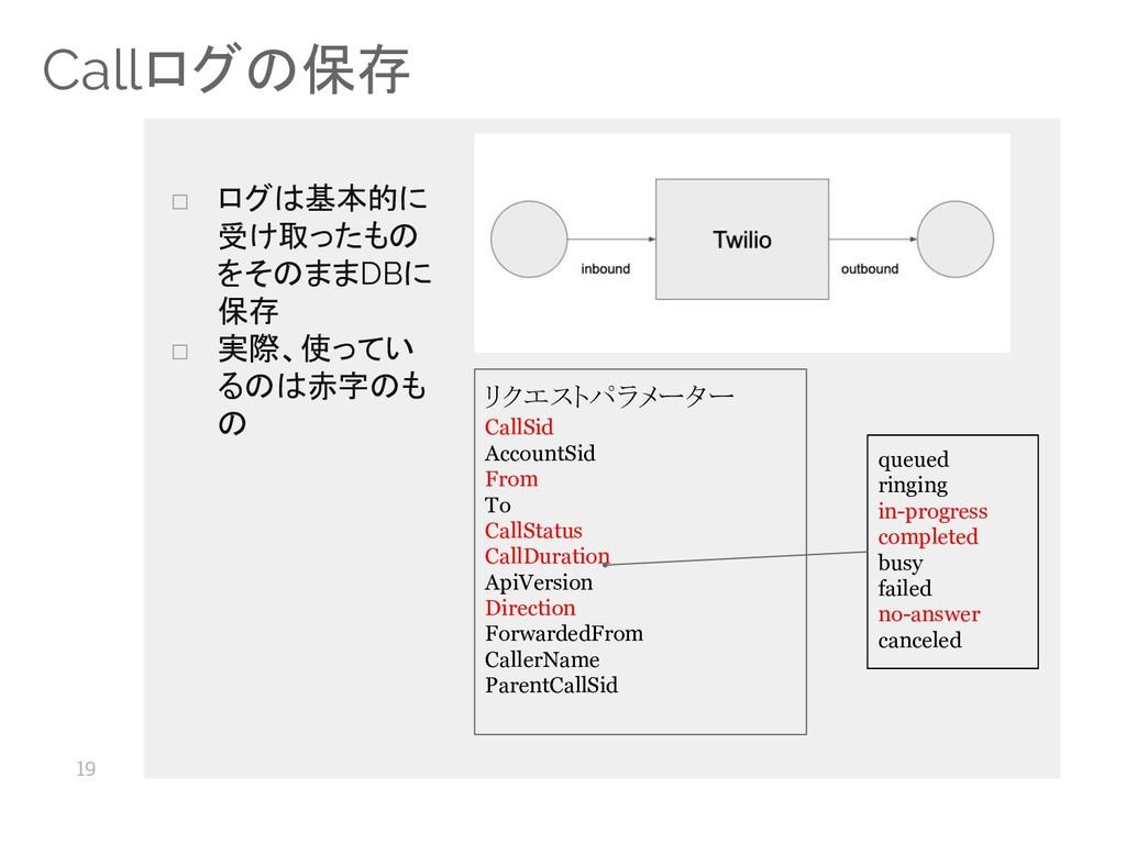 19 Callログの保存 リクエストパラメーター CallSid AccountSid Fro...