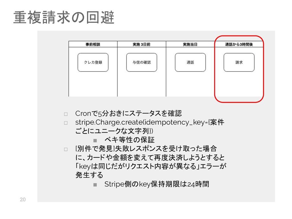 20 重複請求の回避 □ Cronで5分おきにステータスを確認 □ stripe.Charge...