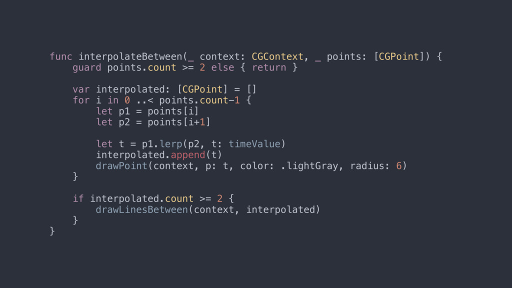 func interpolateBetween(_ context: CGContext, _...