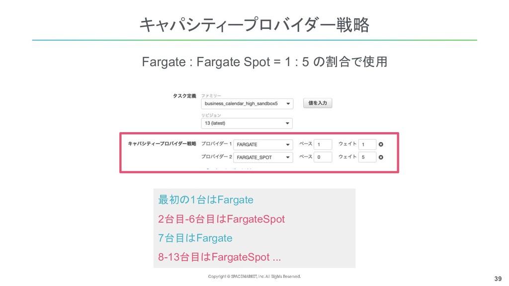 39 キャパシティープロバイダー戦略 Fargate : Fargate Spot = 1 :...