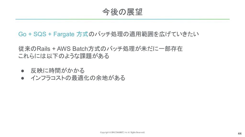 44 Go + SQS + Fargate 方式のバッチ処理の適用範囲を広げていきたい 従来の...