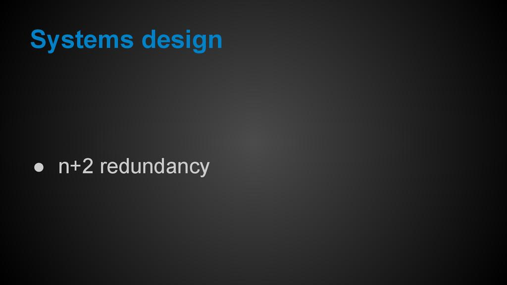 ● n+2 redundancy Systems design