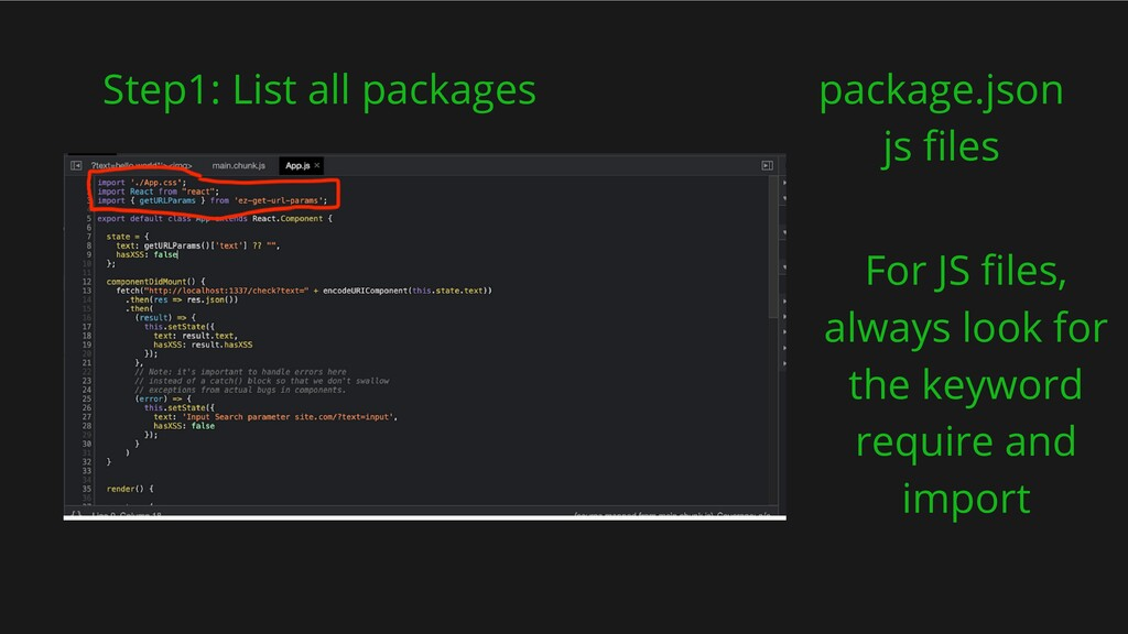 Step1: List all packages package.json js files ...