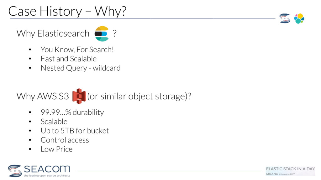 Case History – Why? Why Elasticsearch ? • You K...