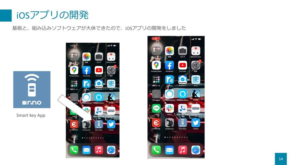 iOSアプリの開発 14 基板と、組み込みソフトウェアが⼤体できたので、iOSアプリの開発をし...