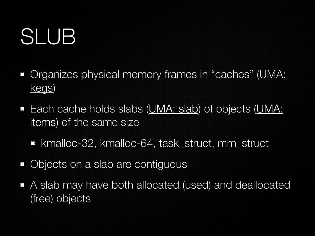 "SLUB Organizes physical memory frames in ""cache..."