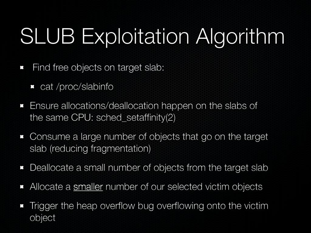 SLUB Exploitation Algorithm Find free objects o...