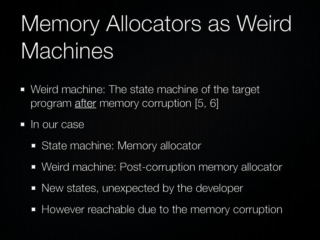 Memory Allocators as Weird Machines Weird machi...