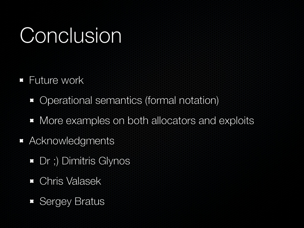 Conclusion Future work Operational semantics (f...