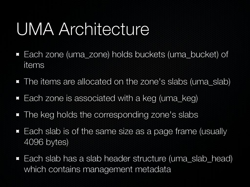 UMA Architecture Each zone (uma_zone) holds buc...