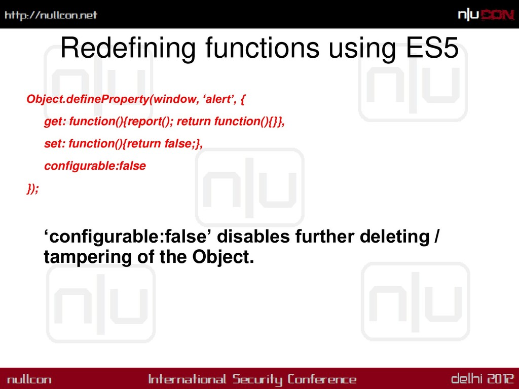 Redefining functions using ES5 Object.definePro...