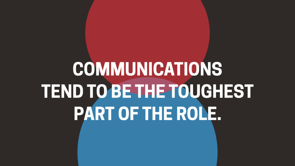 COMMUNICATIONS  TEND TO BE THE TOUGHEST PART O...