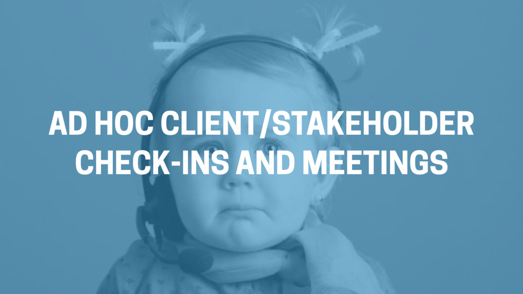 AD HOC CLIENT/STAKEHOLDER  CHECK-INS AND MEETI...