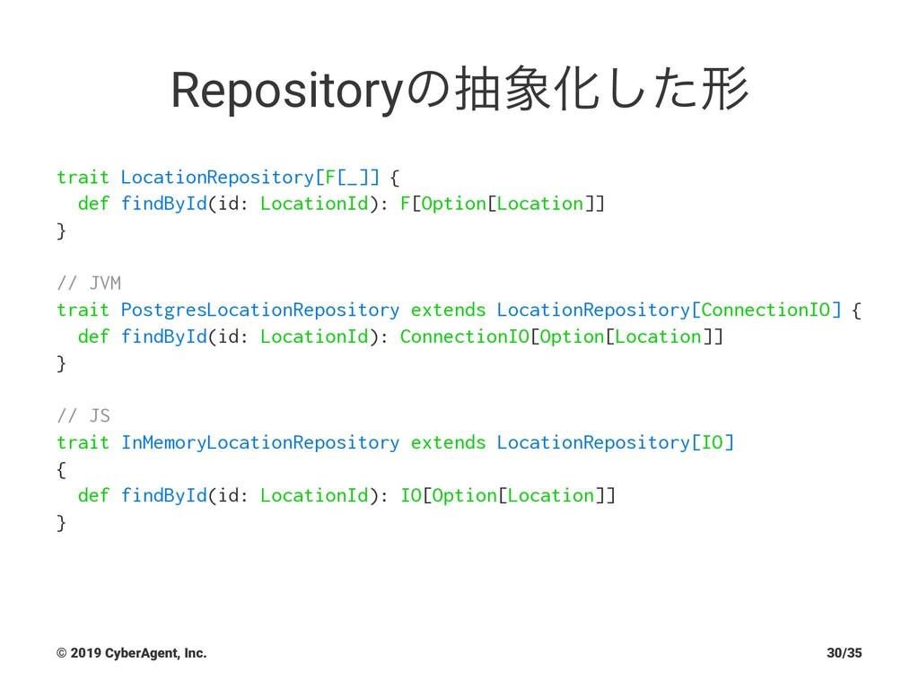 RepositoryͷநԽͨ͠ܗ trait LocationRepository[F[_]...