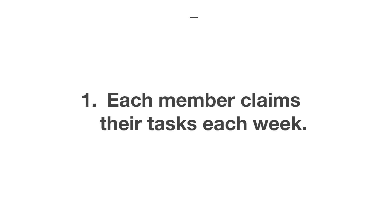 1. Each member claims their tasks each week.