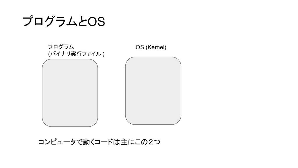 プログラムとOS プログラム (バイナリ実行ファイル ) OS (Kernel) コンピュータ...
