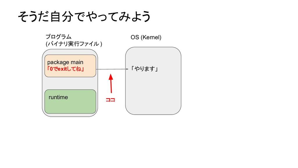 そうだ自分でやってみよう OS (Kernel) runtime 「やります」 プログラム (...