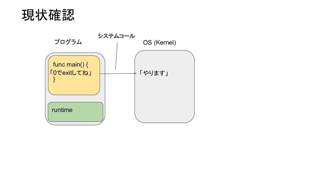 現状確認 プログラム OS (Kernel) runtime func main() { } ...