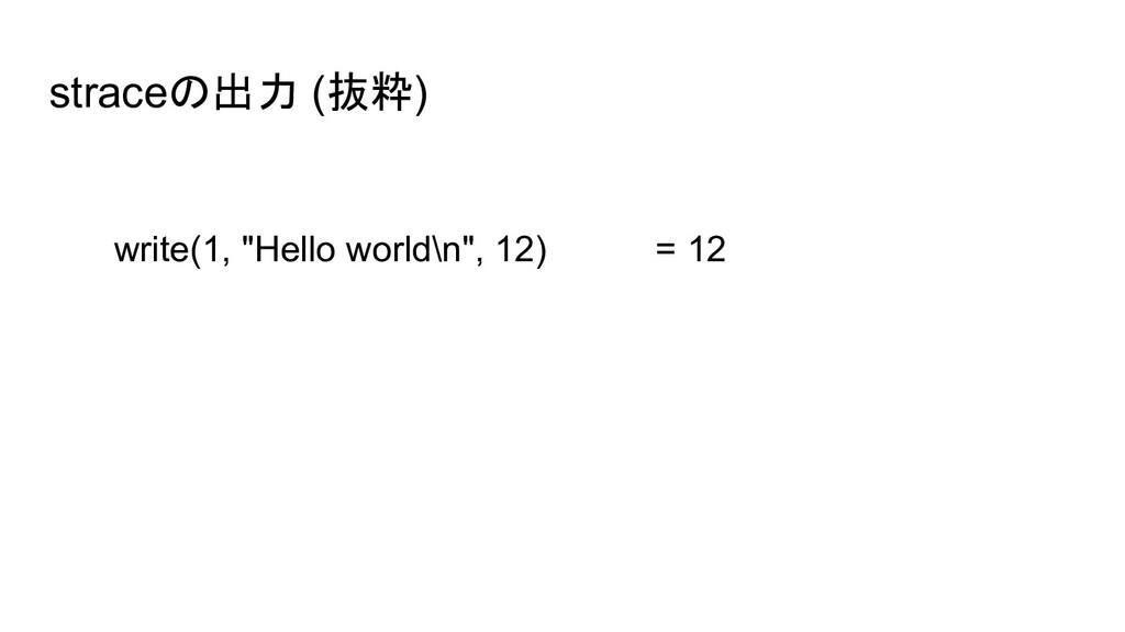 "straceの出力 (抜粋) write(1, ""Hello world\n"", 12) = ..."