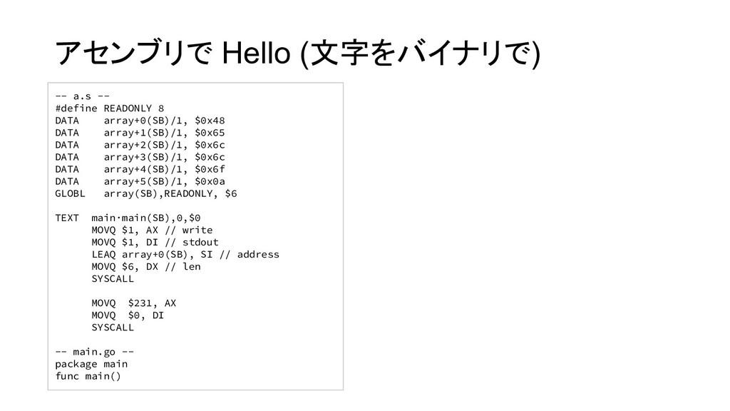 -- a.s -- #define READONLY 8 DATA array+0(SB)/1...