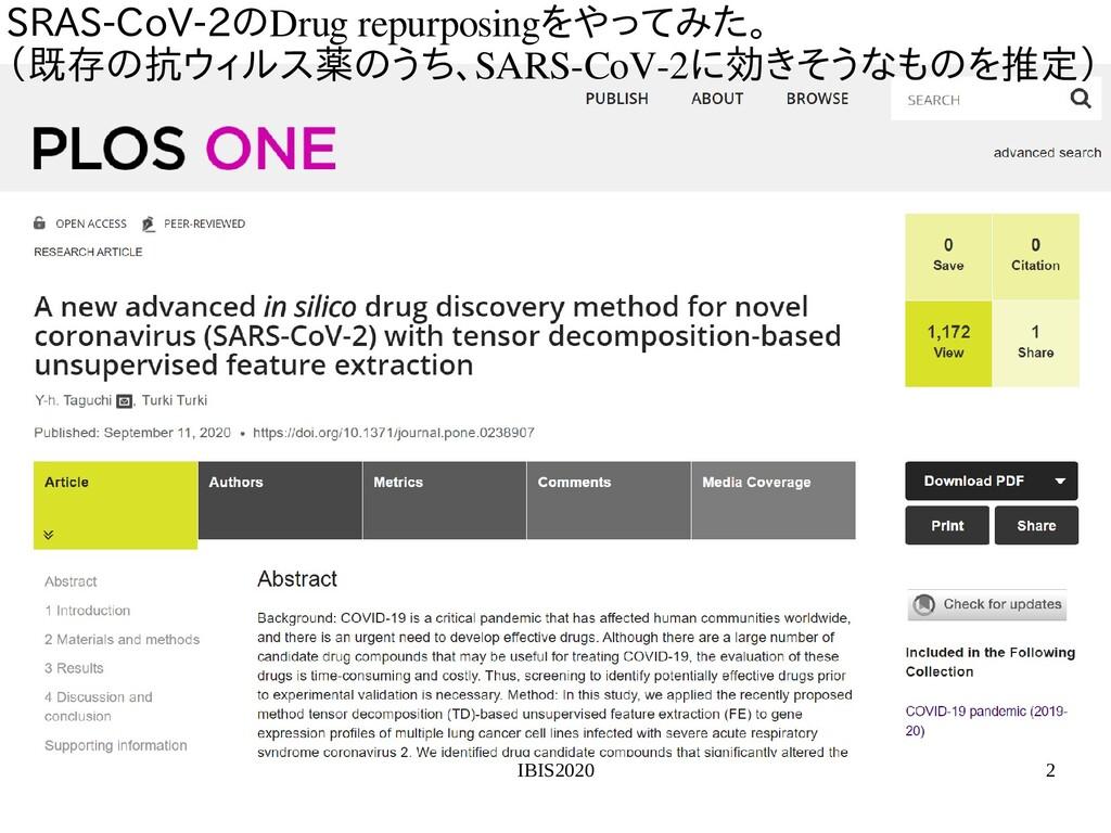 IBIS2020 2 SRAS-CoV-2の探索Drug repurposingを用いた教師無...