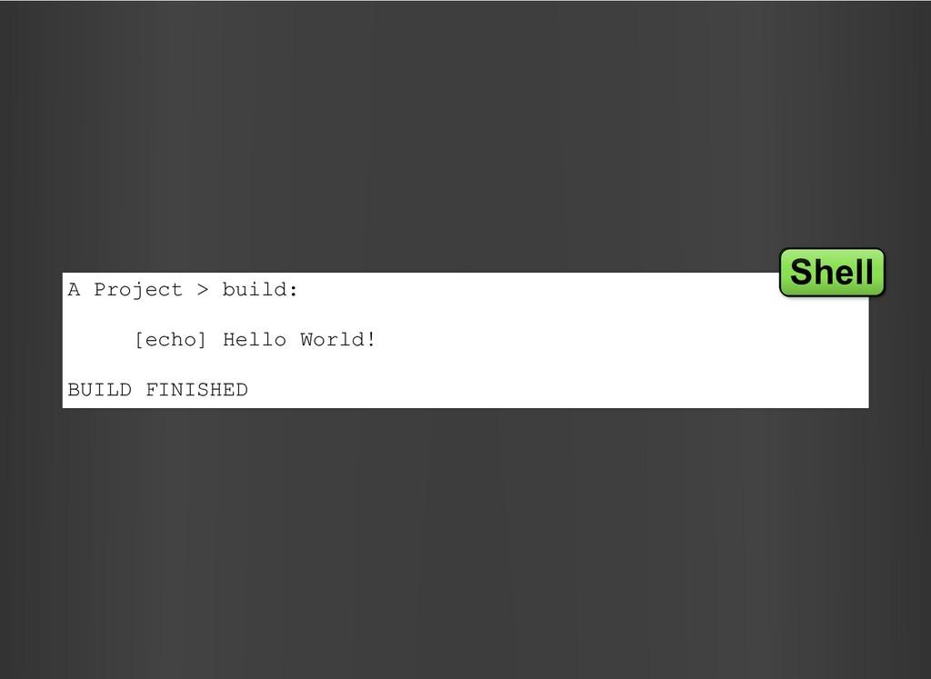 A Project > build: [echo] Hello World! BUILD FI...