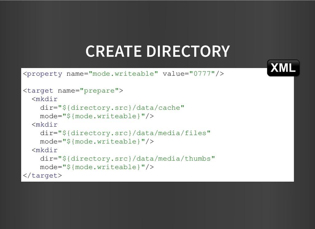 CREATE DIRECTORY CREATE DIRECTORY <property nam...