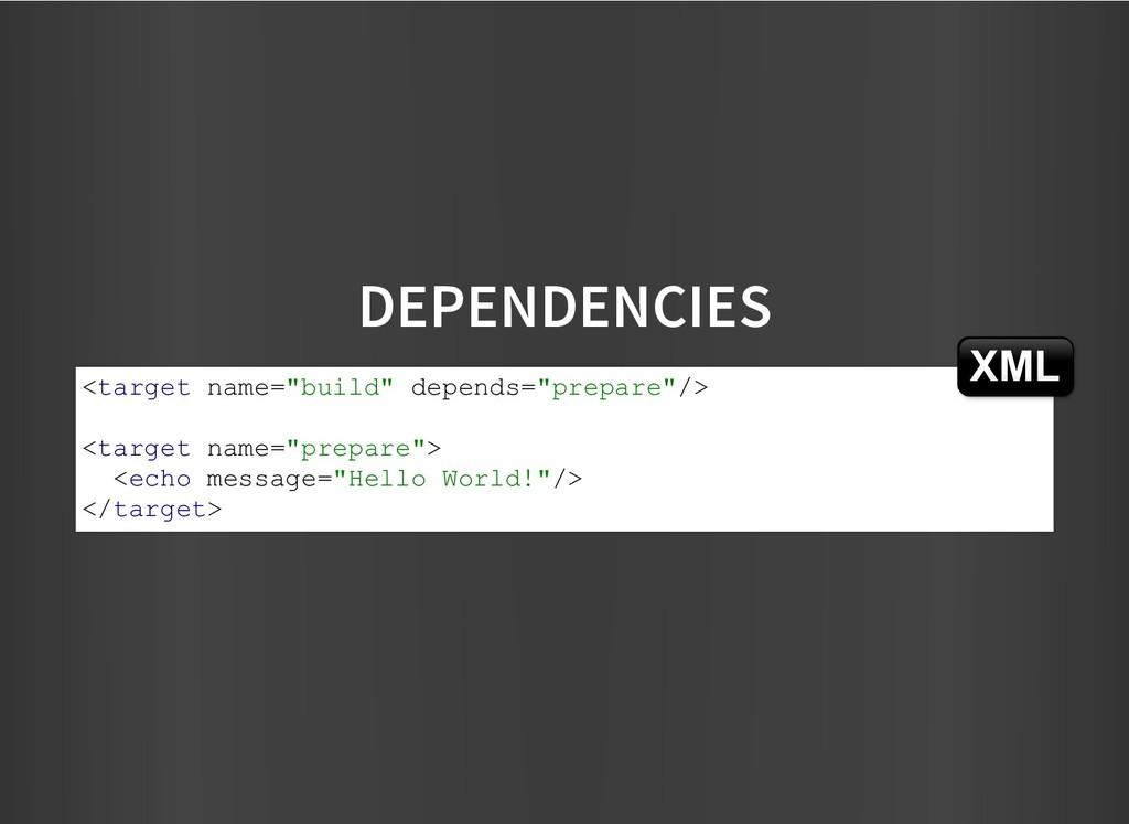"DEPENDENCIES DEPENDENCIES <target name=""build"" ..."
