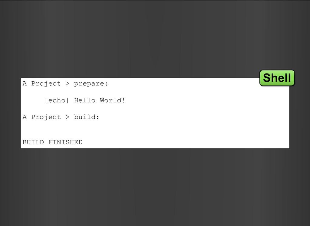 A Project > prepare: [echo] Hello World! A Proj...