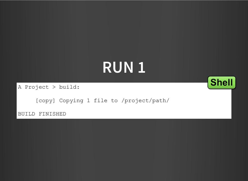 RUN 1 RUN 1 A Project > build: [copy] Copying 1...