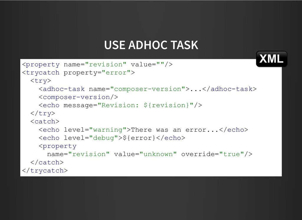 "USE ADHOC TASK USE ADHOC TASK <property name=""r..."