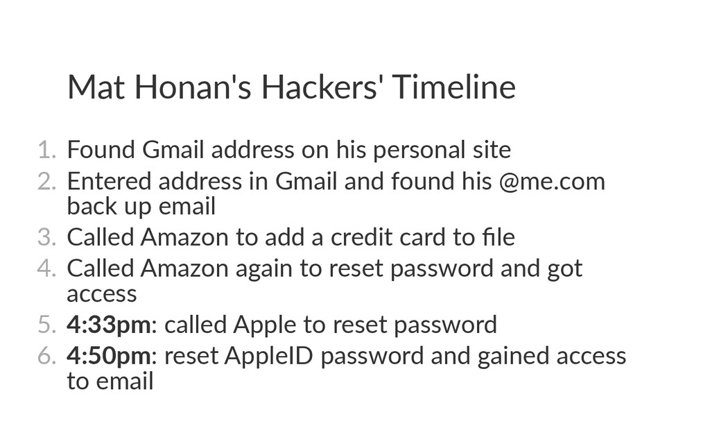 Mat Honan's Hackers' Timeline 1. Found Gmail a...