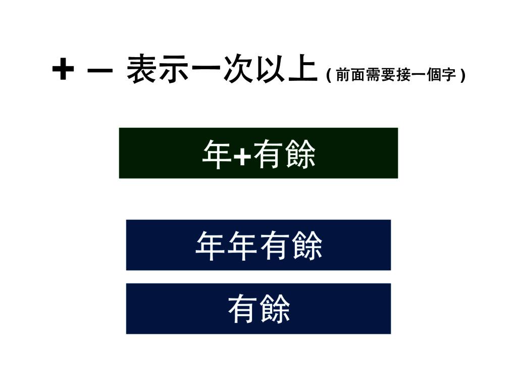 + — 表⽰示⼀一次以上 ( 前⾯面需要接⼀一個字 ) 有餘 年+有餘 年年有餘
