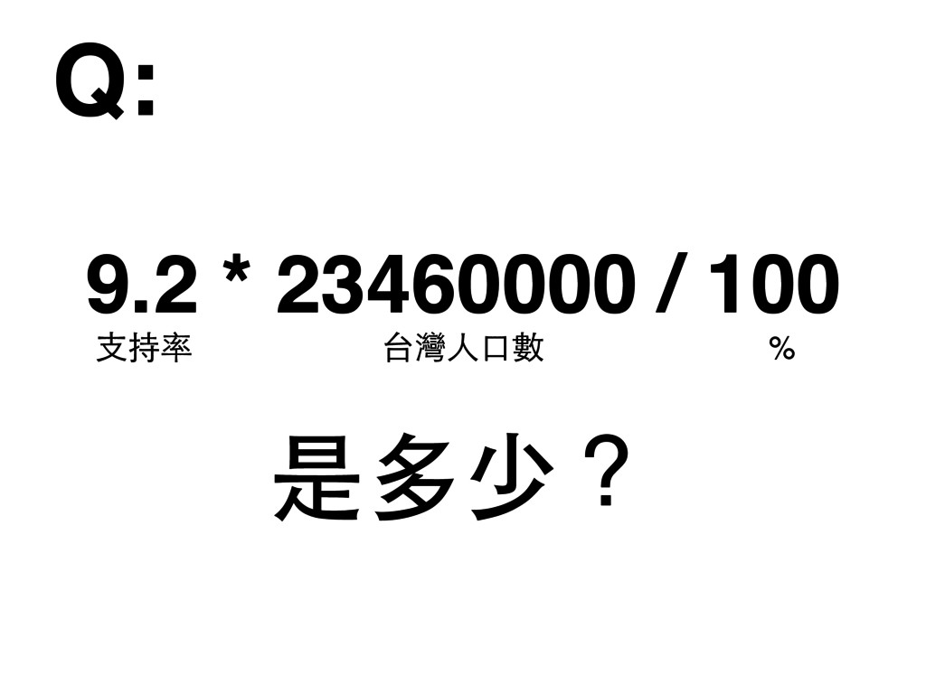 9.2 * 23460000 / 100 Q: 是多少? 台灣⼈人⼝口數 ⽀支持率 %