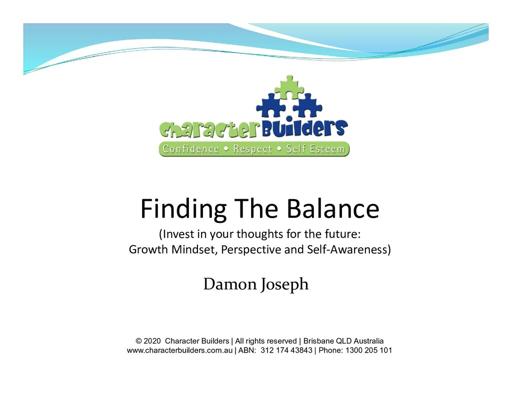 Finding The Balance (Invest in your thoughts fo...