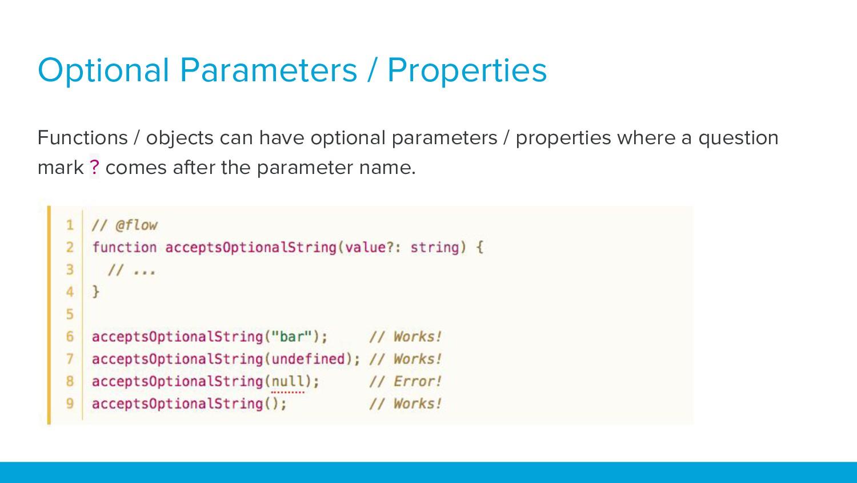 Optional Parameters / Properties Functions / ob...