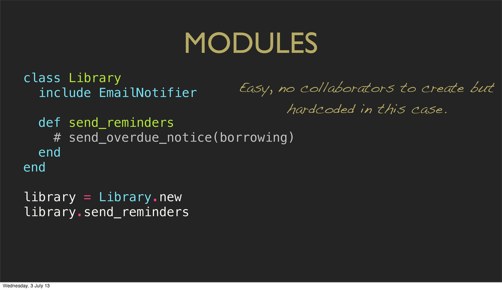 MODULES class Library include EmailNotifier def...
