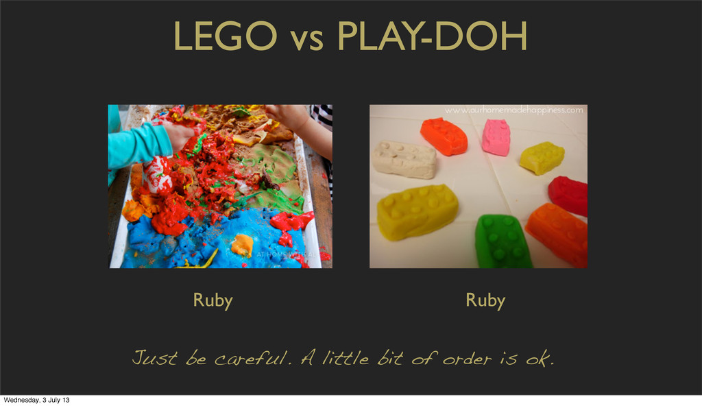 LEGO vs PLAY-DOH Just be careful. A little bit ...