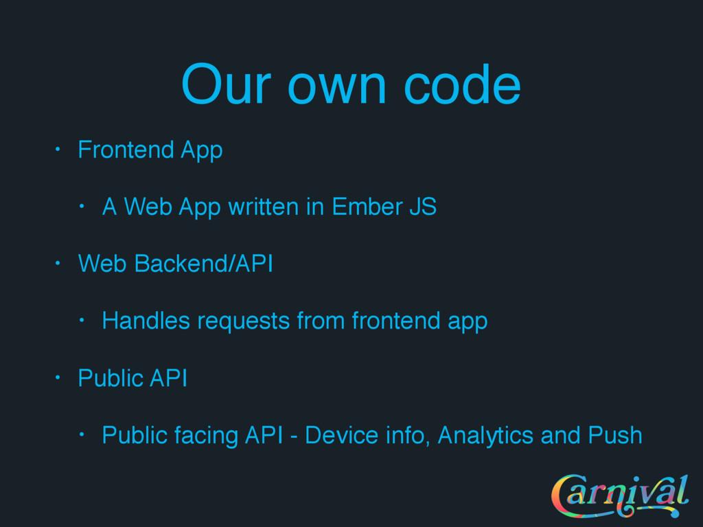 Our own code • Frontend App • A Web App written...