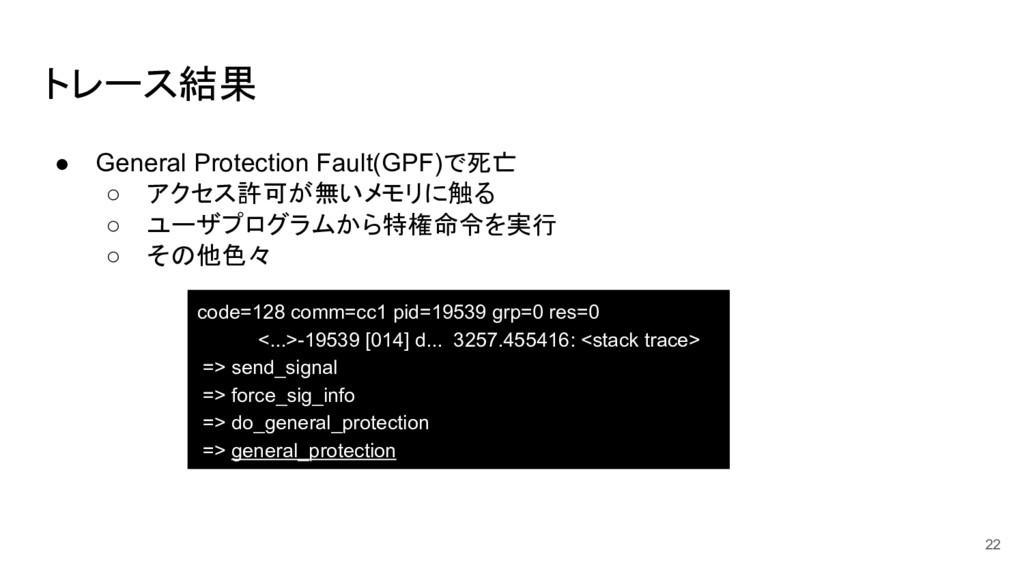 トレース結果 code=128 comm=cc1 pid=19539 grp=0 res=0 ...