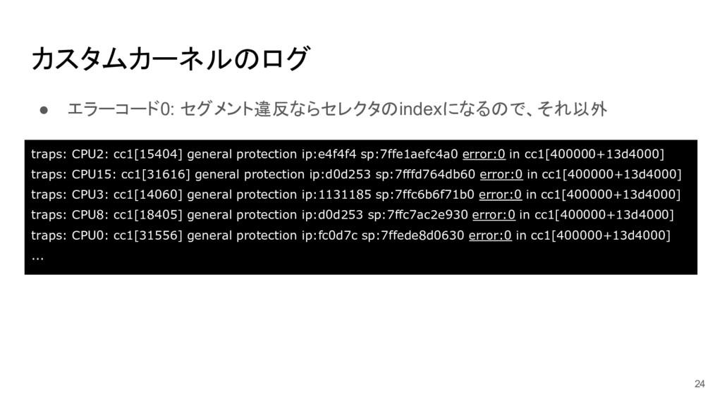カスタムカーネルのログ ● エラーコード0: セグメント違反ならセレクタのindexになるので...