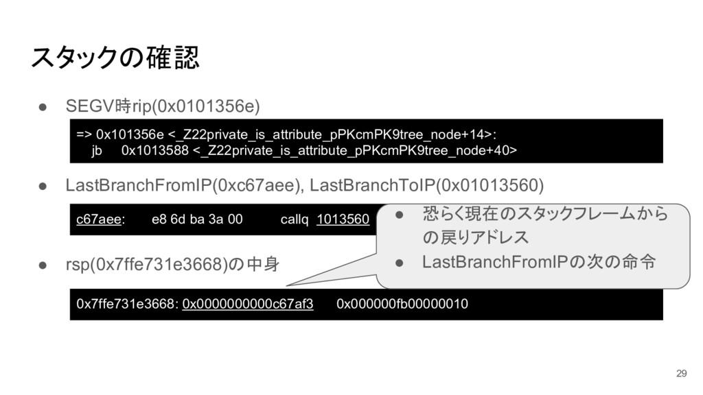 スタックの確認 ● SEGV時rip(0x0101356e) ● LastBranchFrom...