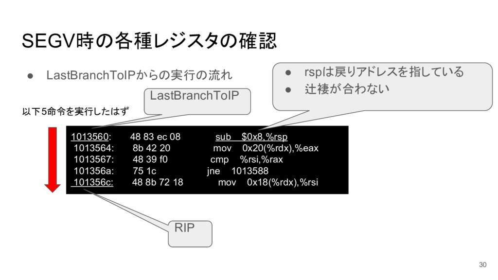 SEGV時の各種レジスタの確認 ● LastBranchToIPからの実行の流れ 30 101...