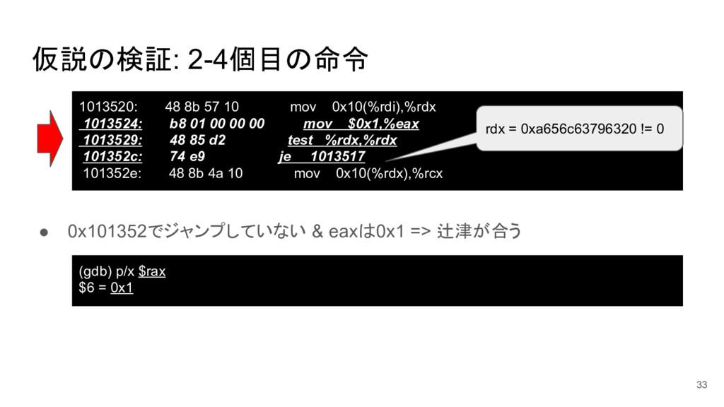 仮説の検証: 2-4個目の命令 ● 0x101352でジャンプしていない & eaxは0x1 ...
