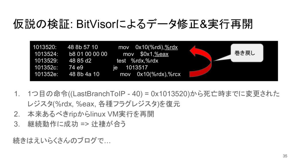 仮説の検証: BitVisorによるデータ修正&実行再開 1. 1つ目の命令((LastBra...