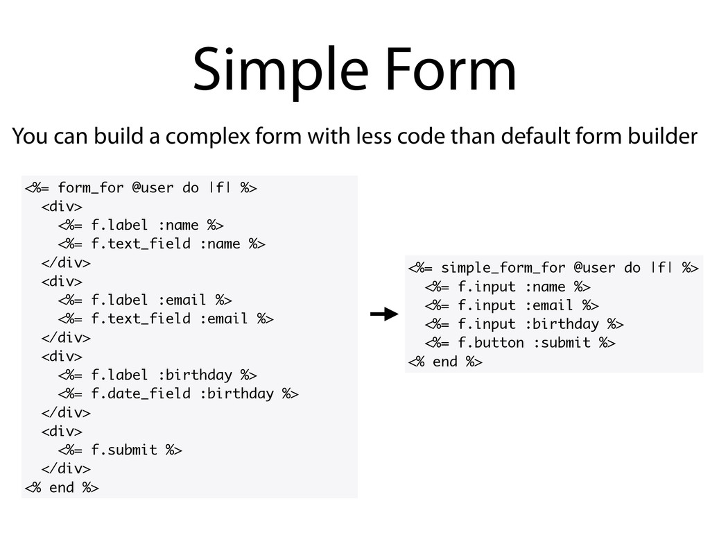 You can build a complex form with less code tha...