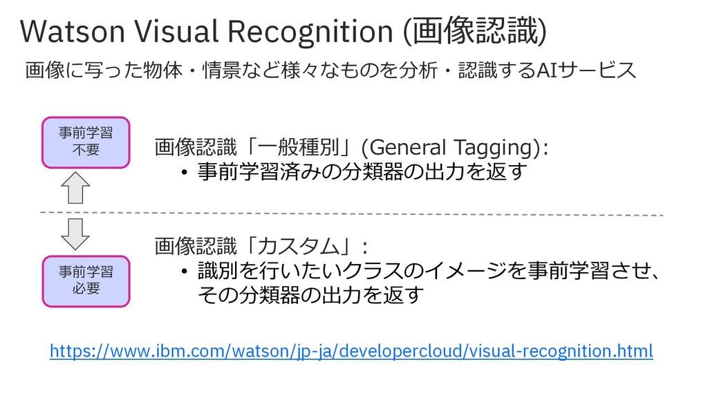 Watson Visual Recognition (画像認識) 画像認識「⼀般種別」(Gen...