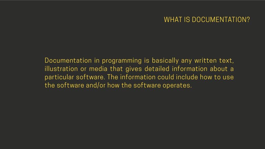 WHAT IS DOCUMENTATION? Documentation in program...